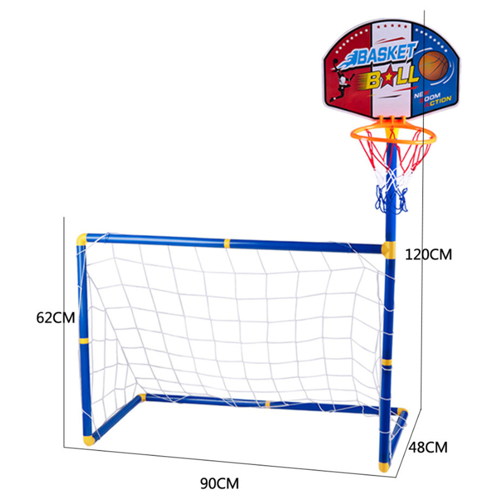 2 In 1 Football Goal Basketball Stands Sports Toys Children Sports Equipment Toys For Kids Children Portable Outdoor Indoor Toys