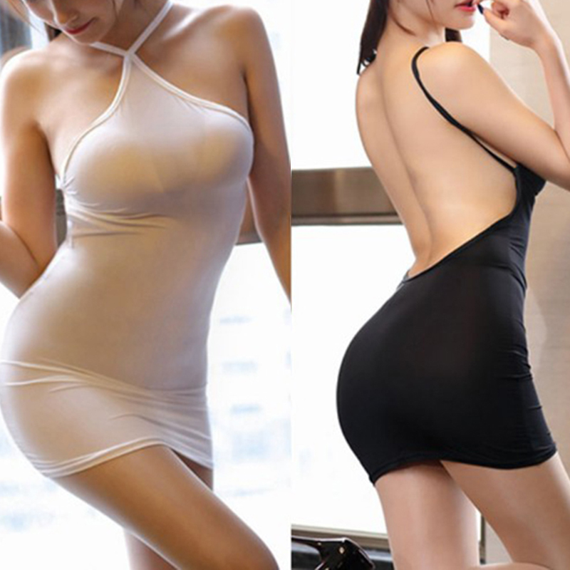 <font><b>Sexy</b></font> Women Bodycon Tight <font><b>Dress</b></font> <font><b>Transparent</b></font> <font><b>Night</b></font> <font><b>Club</b></font> Erotic Wear Thin Ice Silk See Through Strip Halter Backless MINI <font><b>Dress</b></font> image