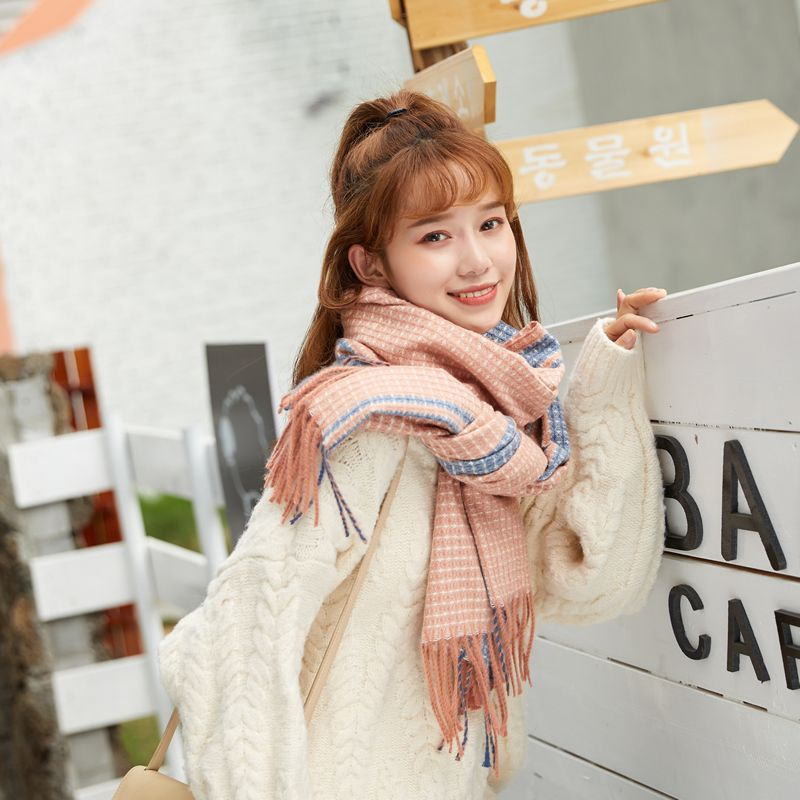 Autumn and winter new thick cashmere scarf women's warm fashion scarf wild plaid color striped fringed shawl