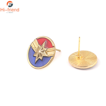 Movie Avengers 4 Endgame Earring Captain Marvel Blue Red Color Enamel For Woman Jewelry Souvenir Gift