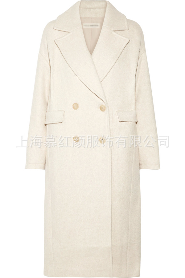 White Solid Long Wool Blend Ladies Coat Vintage Women's Jacket Wide-waisted Double Breasted Korean Womens Fashion Coat