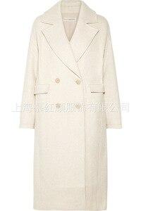 Image 1 - Beyaz Katı Uzun Yün Karışımı Bayan Ceket Vintage kadın ceketi Geniş waisted Kruvaze Kore Bayan Moda Ceket