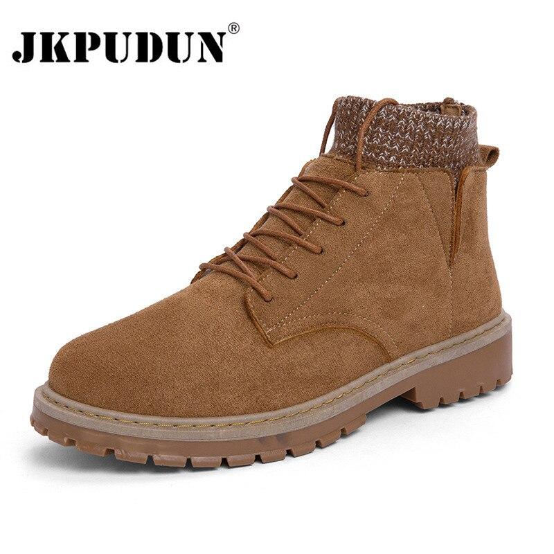 Vintage Men Boots Autumn Suede Leather Western Ankle Boots Men Waterproof Winter Work Boots Casual Shoes Cowboy Botas JKPUDUN