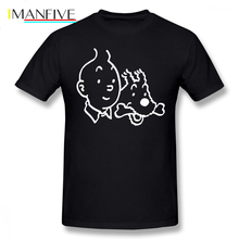 Tintin T Shirt And Milou Merchandise T-Shirt 100 Percent Cotton Graphic Tee Awesome Classic Short Sleeve Men Tshirt
