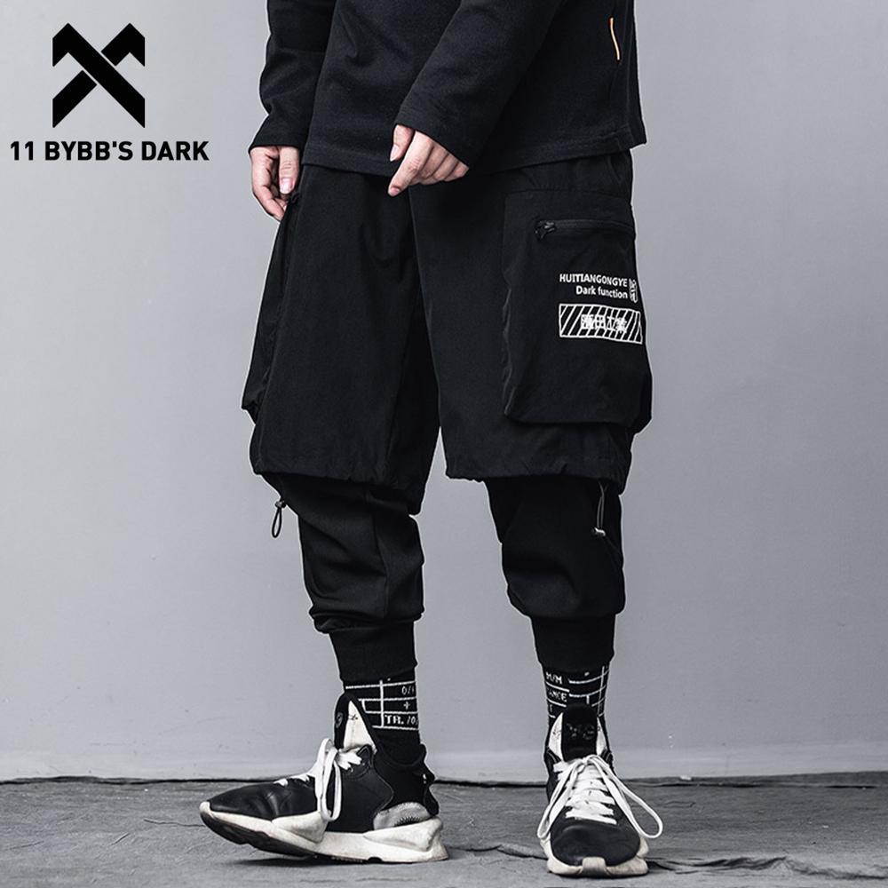 11 BYBB'S DARK Fake Two Piece Cargo Pants Baggy 2020 Spring Autumn Hip Hop Punk Harem Pants Mens Streetwear Joggers Black