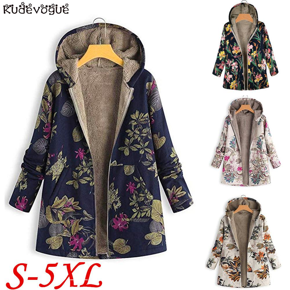 Plush Coat Printed Women's Cotton Clothing Cotton Linen Hooded Jacket Tops Warm And Comfortable