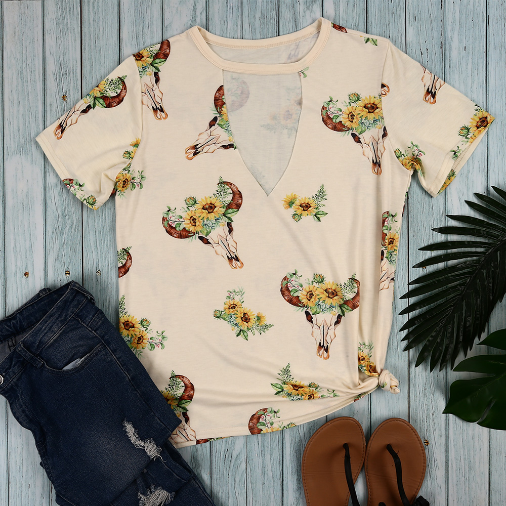 Women Sunflower Steer Skull Cut Out T Shirt Apricot Summer Ladies Vintage Hollow Out Sunflower T-Shirt Plus Size Tumblr Clothes