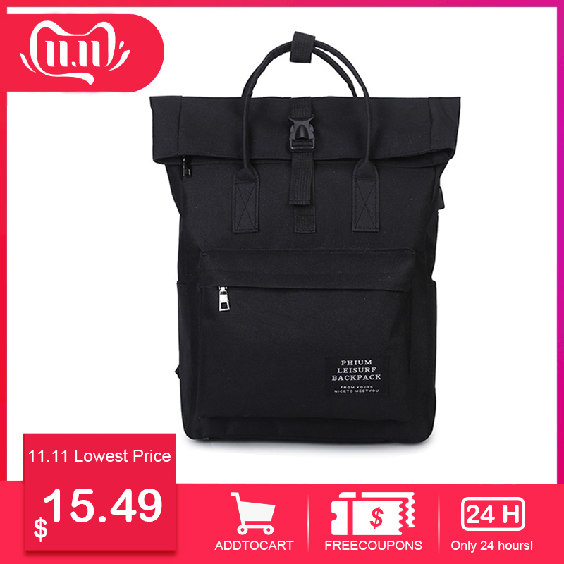 Korean fashion middle school student bag USB charging 15.6-inch laptop backpack girl leisure travel backpack Harajuku Mochila image