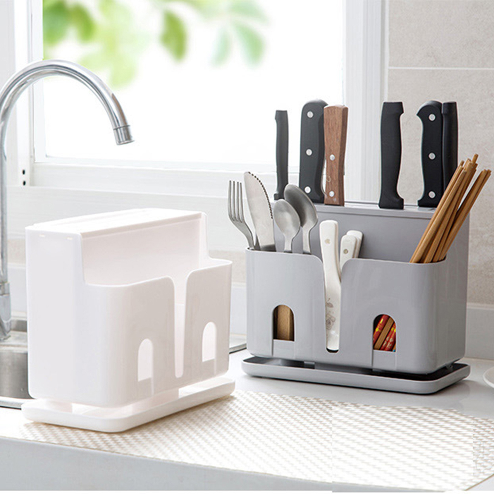 Kitchen Utensil Holder Plastic Knife Stand Holder Organizer Multi Functional Kitchen Storage Box Rack Cutlery Holder