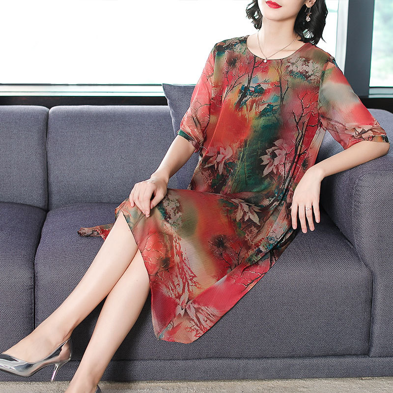 Hangzhou Silk Dress Women's Summer 2019 New Style Big Brand Nobility Cover Belly 50-Year-Old Mom Skirt Medium-length