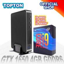 Topton computador de jogos intel core i9-9900 i7-9700 i5-9400F gtx 1650 4gb gddr6 jogos mini pc windows liunx 4k 2 * hdmi2.0 dp dvi