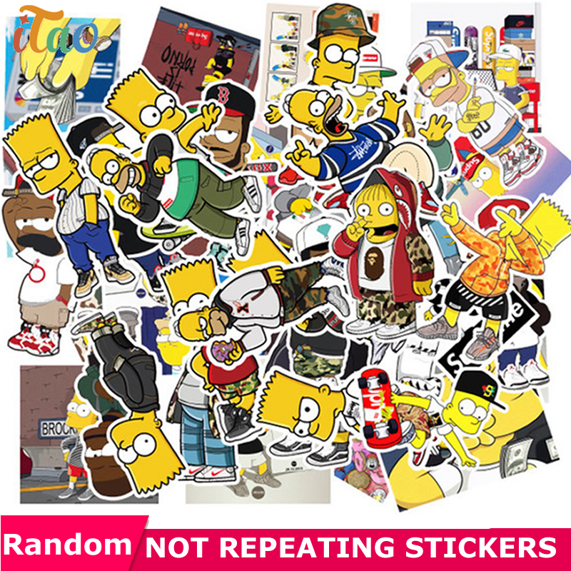 10/20/30/40/50PCS Cartoon Simpsons Sticker Waterproof PVC Skateboard Guitar Laptop Snowboard Motorcycle Luggage Kid Toy Stickers