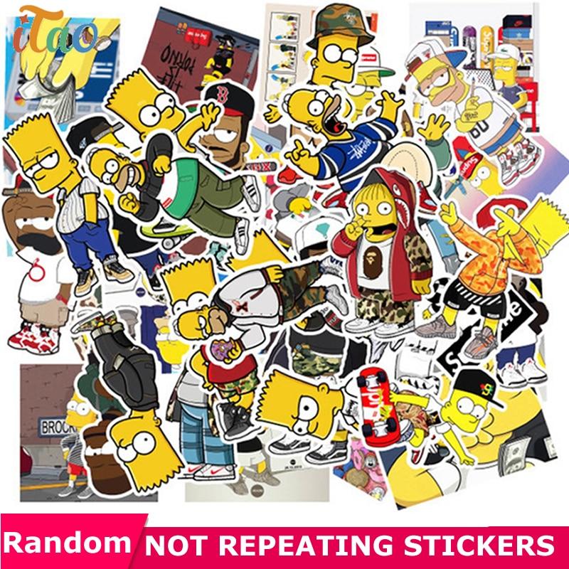 10/20/30/40/50PCS Cartoon Simpsons Sticker Waterproof PVC Skateboard Guitar Laptop Snowboard Motorcycle Luggage Kid Toy Stickers