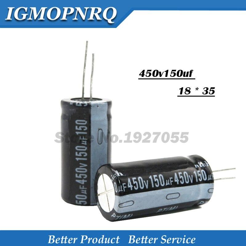 5PCS 450v150uf 150uf450v 18*35 450v 150uf 18x35 Electro Electrolytic Capacitor 450v150 18*35