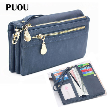 PUOU 2020 Fashion Zipper Purses Womens Wallets Envelop Long Wallet Women Section Clutch Soft PU Leather Money Bag