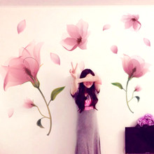 [SHIJUEHEZI] Pink Flowers Wall Stickers DIY Plant Wall Decals for Parlour Dorm Wedding Room Girls Bedroom Decoration(China)