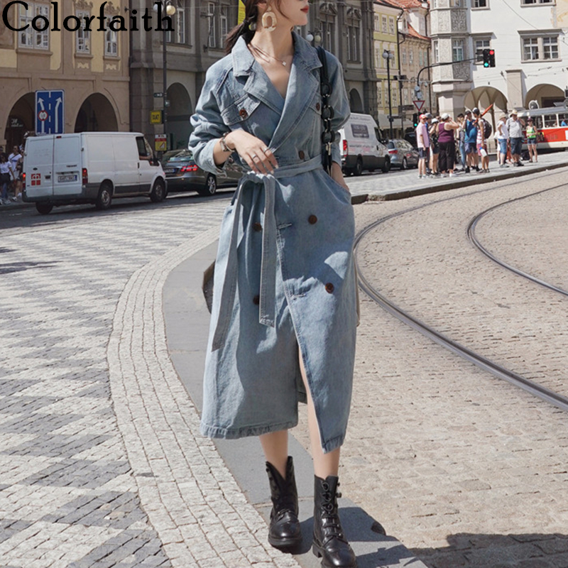 Colorfaith New 2019 Autumn Winter Women's Trench Denim Elegant Outerwear England Style Lace Up Long Tops Ladies Coat  JK8918-1