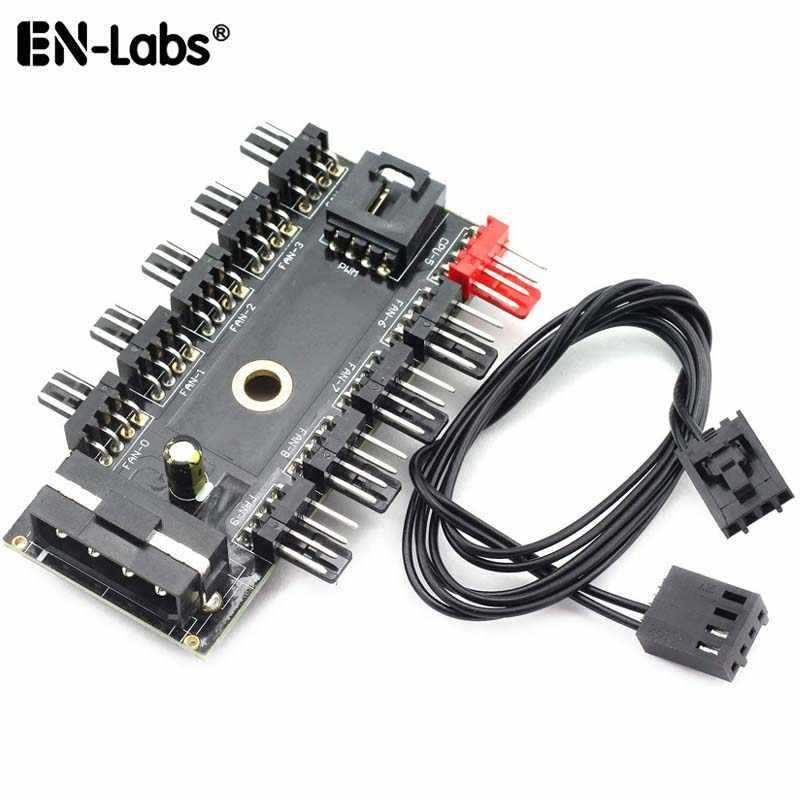 モレックス 4pin SATA に 10 ポート 4 ピンの Pwm ファンハブコントローラ RPM フィードバックケーブル、 CPU クーラーファンのための 4 ピン 3pin ケース冷却