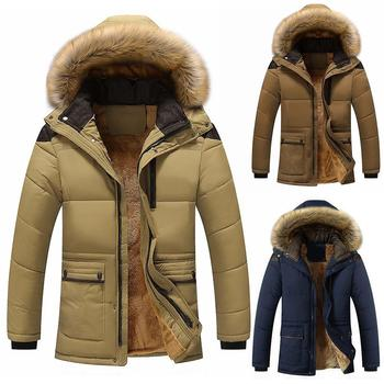 2020 Pie Wool Lining Warm Casual Large Detachable Fur Collar Jacket Men's Solid Color Long Sleeve Hooded Cotton Jacket