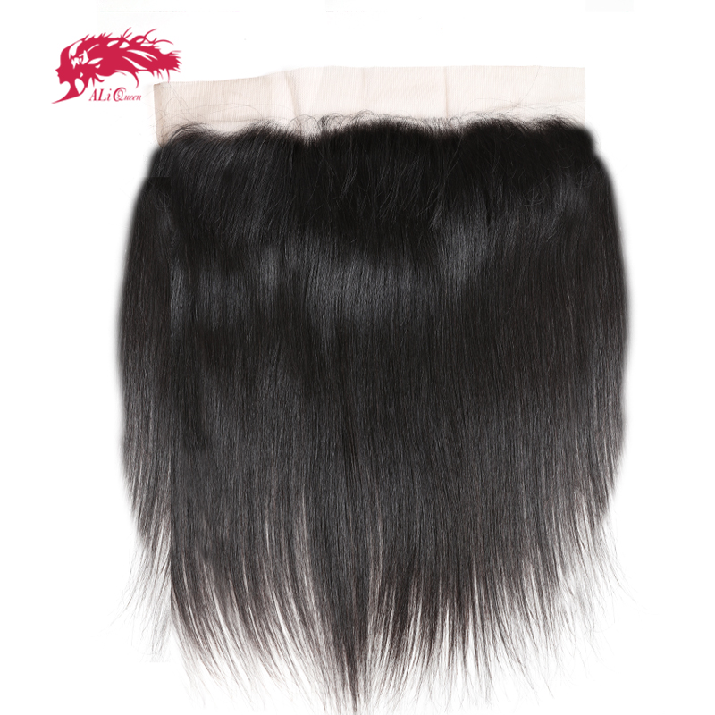 Ali Queen HD Transparent Lace Frontal Ear to Ear 13X4 Closure with Baby Hair Brazilian Straight Human Hair Free Part Virgin Hair