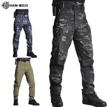 HANผู้ชายSharkskinกางเกงยุทธวิธีCargo Combat SWATกองทัพฝึกอบรมกางเกงทหารAirsoftเอเชียกางเกงเดินป่ากางเกงล่าสัตว์