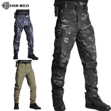 HAN WILD Men Sharkskin Tactical Pants Cargo Combat SWAT Army Training Military Pants Airsoft Asian Pants Hiking Hunting Trousers