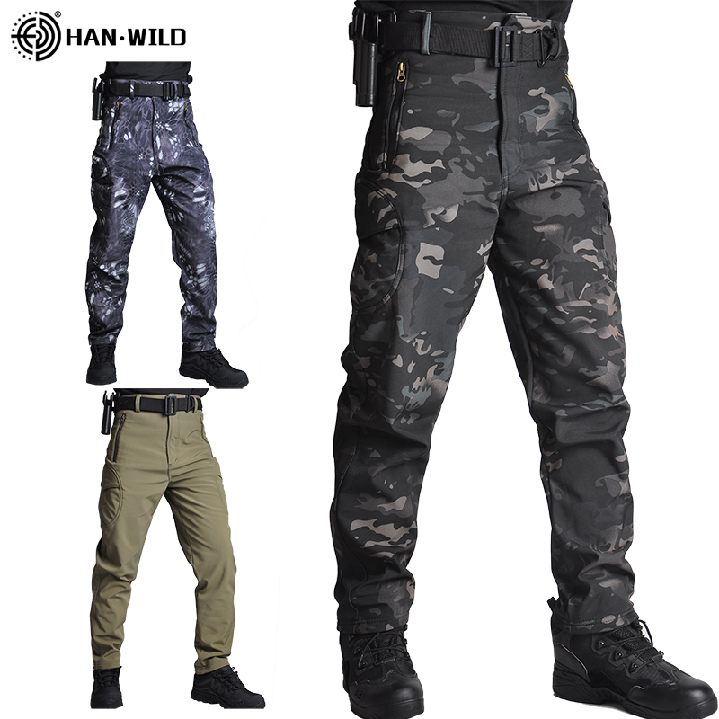 Men Sharkskin Tactical Pants Cargo Combat SWAT Army Training Military Pants Airsoft Cargo Pants Hiking Hunting Trousers