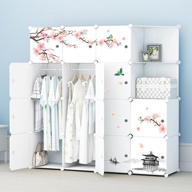 2019 Simple Portable armoire assemblée en plastique pliant garde garde-robe placard chambre casier gain de place armoire avec autocollant déco