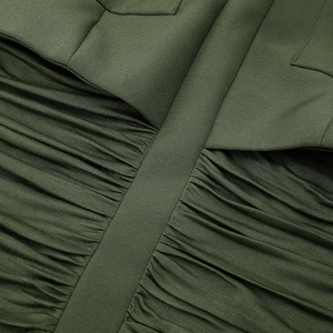 Image 5 - HIGH STREET 2020 Newest Stylish Designer Dress Womens Long Sleeve Slim Fitting Pockets Army Green Sheath Mini Dress