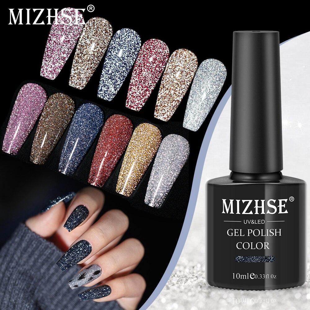 Светоотражающий Гель лак для ногтей MIZHSE, 10 мл, блестящий полуперманентный лак, 6 цветов, гибридный лак для ногтей, УФ акриловый гель для дизайна ногтей Гель для ногтей    АлиЭкспресс - Для красоты и здоровья