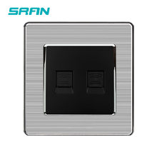 SRAN wall socket dual telephone weak electricity type plug 86*86mm home decoration accessories Stainless steel panel telephone