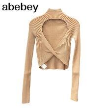 Çizgili Backless seksi kısa üstleri kadın balıkçı yaka uzun kollu ince T gömlek kadın 2020 sonbahar moda yeni şık