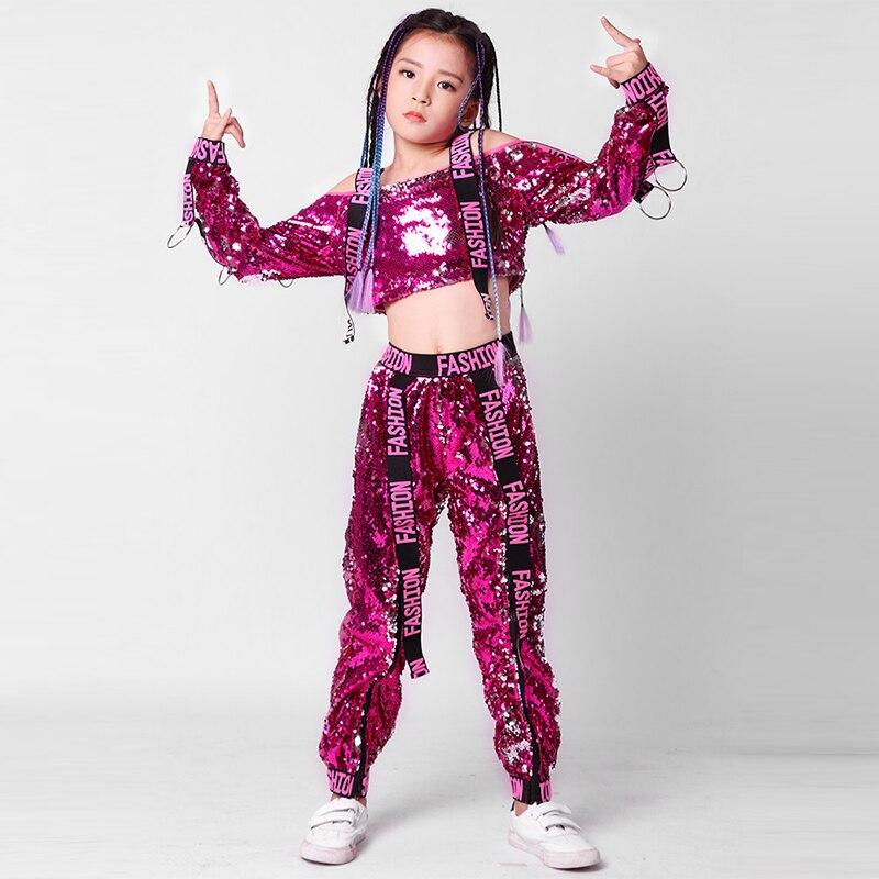 Cravate enfants Costumes de danse Sequin Jazz Hip Hop Performance Costumes ensemble pour enfants Costume de danse contemporaine pour les filles 160cm