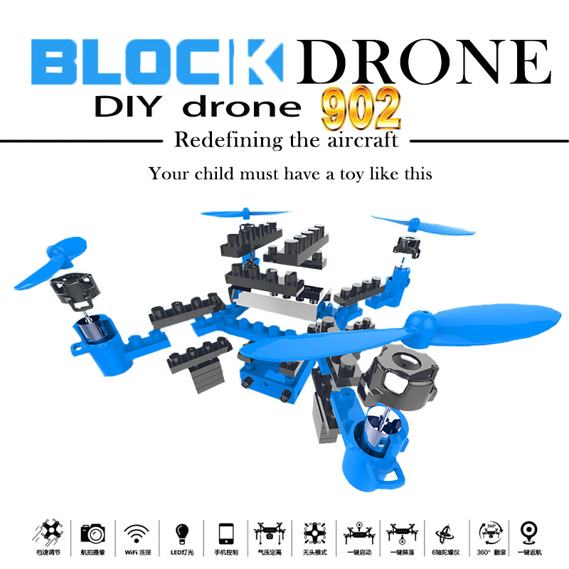 902 DIY Drone Building Blocks Assemble Remote Control Toy Helicopter Mini Drones With Camera Wifi Quadrocopter FPV Rc Boy Toys
