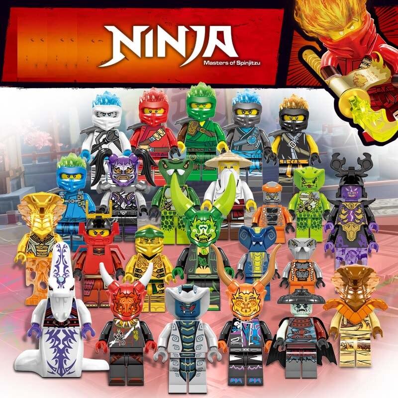 24PCS/LOT 2019 NINJA Heroes Building Blocks Kai Jay Cole Zane Lloyd SNAKE Compatible Legoinglys Ninjagoingly Action Figures Toys