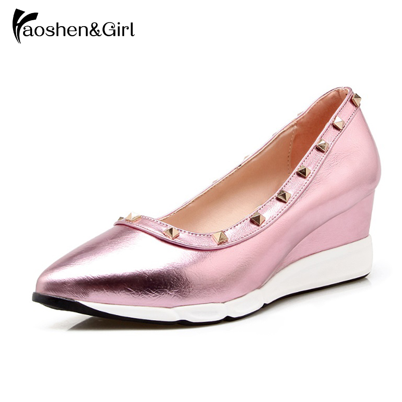 Haoshen&Girl Spring/Autumn pumps women wedge heel Platform shoes Low Silver Rivet studded Fashion office Women Casual Shoe