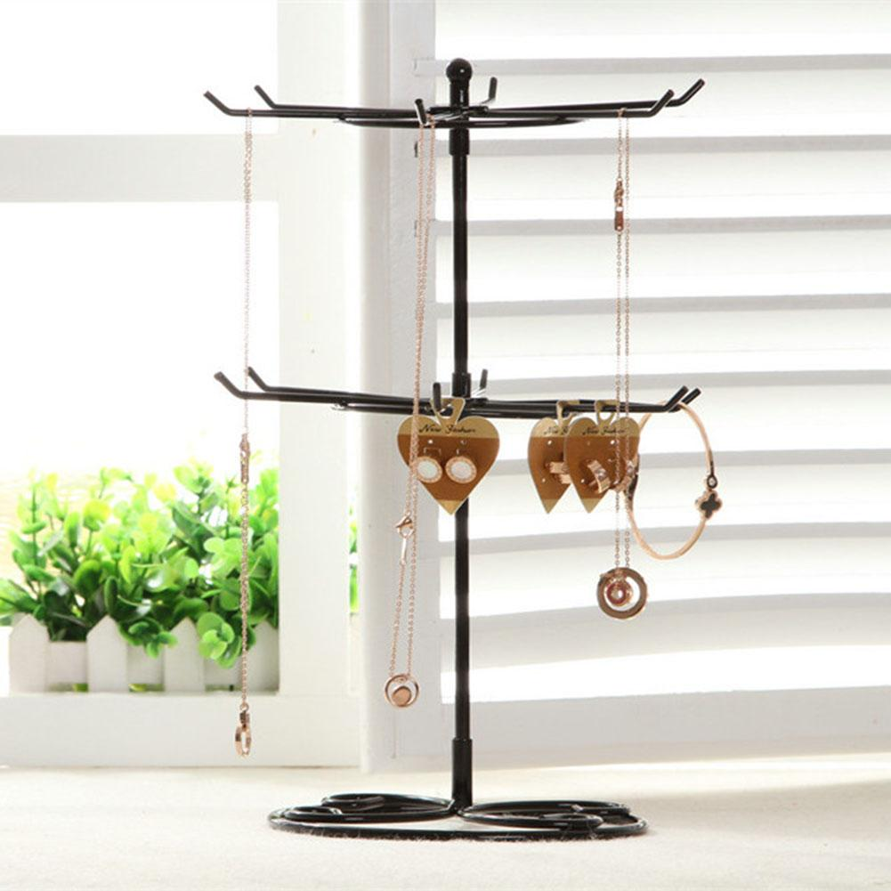 2-Tier Rotary Jewelry Organizer Earrings Necklace Ring Display Stand Earrings Rotary Rack Necklace Holder Woman Jewelry Showcase