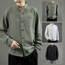 Cotton Linen Shirts Men Japanese Style Casual Loose Blouse Stand Collar Tee Shirt Chinese Style Jackets Kung Fu Outfit Tang Suit(China)