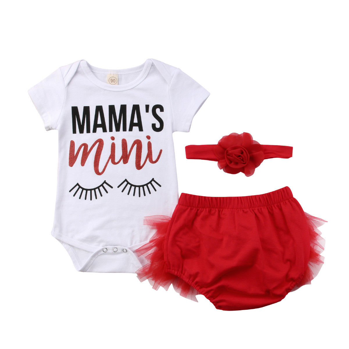 3 Pieces Mamas Mini Print Short Sleeve Bodysuit And Tulle Bloomers With Headband Set For Baby Girl Clothes