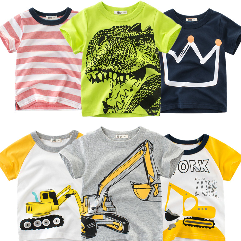 2020 Excavator Printed Baby Boys T-shirt For Girls Summer Kids Tees Infant T Shirts Cartoon Clothes Cotton Letter Toddler Tops