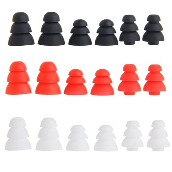 Ivinxy 6pcs Three Layer Silicone In-Ear Earphone Covers Cap Replacement Earbud Bud Tips Earbuds eartips Earplug Ear pads cushion 1