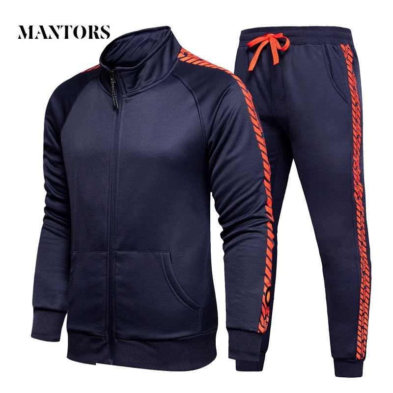 2019 New Trend Men Casual Sets Autumn Men's Sportswear Tracksuit Zipper Print Jacket + Pants 2PC Set Male Slim Fit Sporting Suit