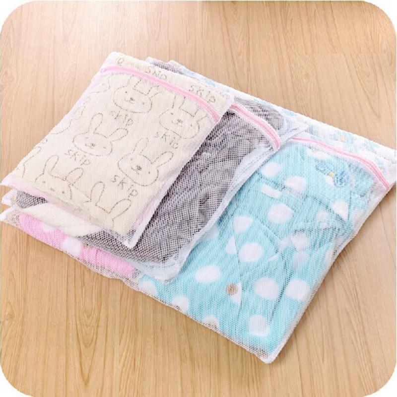 Clothing Machine Washing Bag Foldable Zipper Women Bra Underwear Care Pouch Net Mesh Basket For Household Laundry Storage 3 Size