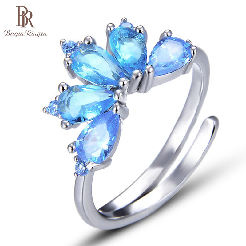 Bague Ringen S925 Pure Silver Crystal Ring Ladies Fashion Personality Jewelry Korean Fresh Creative Tail Ring Accessories Lotus