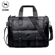 Scione Men Thicken PU Leather Briefcase Large Capacity Laptop Business Messenger Shoulder Bag High Quality Travel Office Handbag high quality large capacity men pu leather computer business handbag casual vintage shoulder crossbody bag for travel work