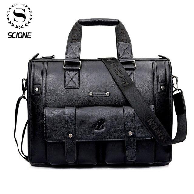 Scione mężczyźni zagęścić teczka ze skóry PU pojemna na Laptop biznes torba listonoszka na ramię wysokiej jakości podróży biuro torebka
