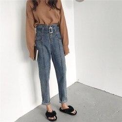 Осенние свободные женские Синие Джинсы бойфренда, повседневные джинсы с поясом, винтажные штаны с высокой талией и карманами, шаровары