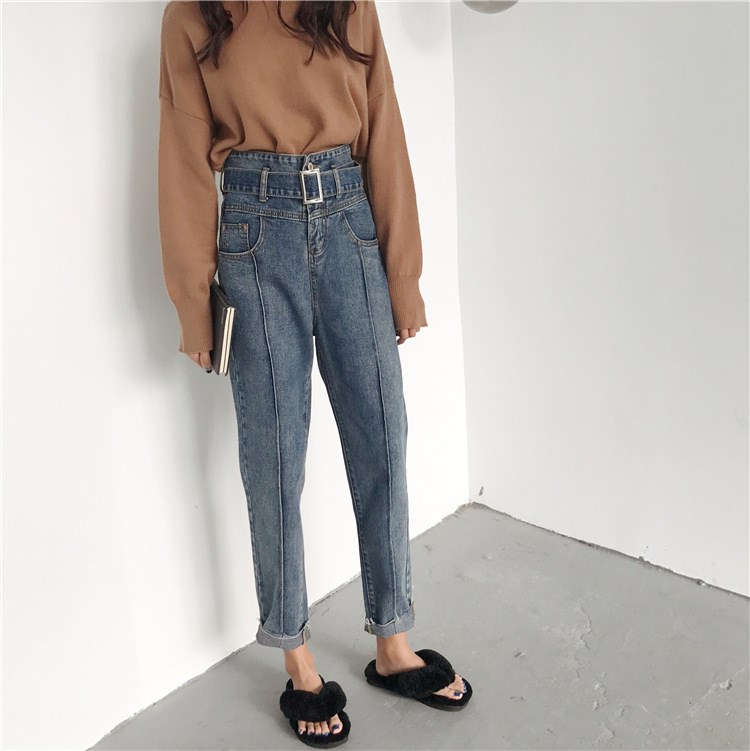 Tide Autumn Loose Women Boyfriend Blue Denim Pants Casual Belt Jeans Pants Vintage High Waist Pocket Harem Trousers