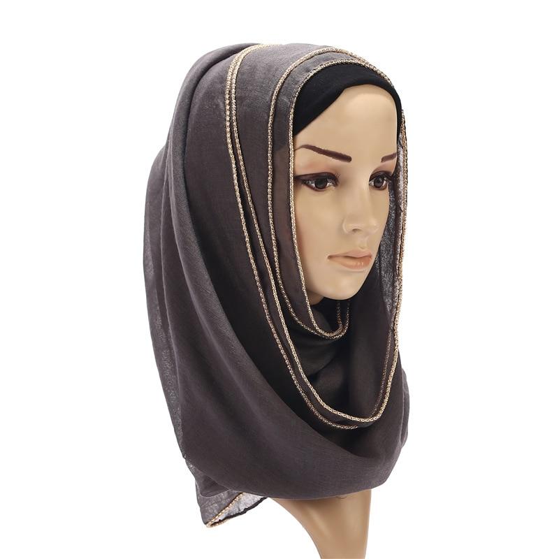 24 Color Plain Summer Muslim Hijab Scarf For Women Fashion Beaded Golden Rim Glitter Hair Head Scarf Ladies Shawl Bufanda Mujer