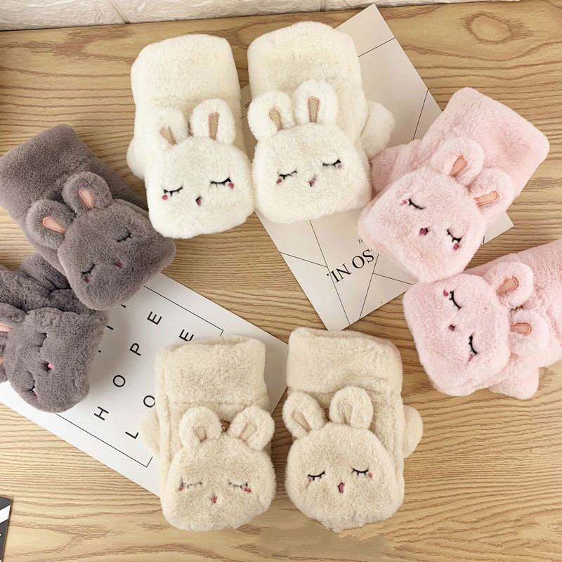Rabbit Gloves Female Winter Student Half Finger Furry Thickening Heating Fingerless Gloves  Winter Women Gloves  Girls Mittens